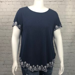 Charter Club Navy & White Embroidered Top Size 2X